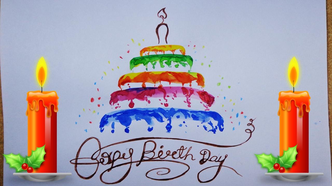 1280x720 Birthday Cake Designs For Kids Birthday Cake Drawing Step By