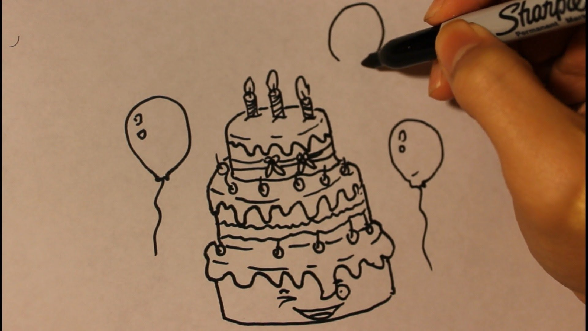 1920x1080 How To Draw Cartoon Birthday Cake Step By Step Easy Tutorial Cute