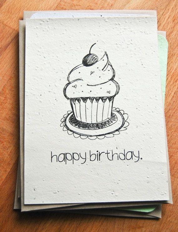 570x745 Plantable Seed Paper Happy Birthday Card, Hand Illustrated Cupcake