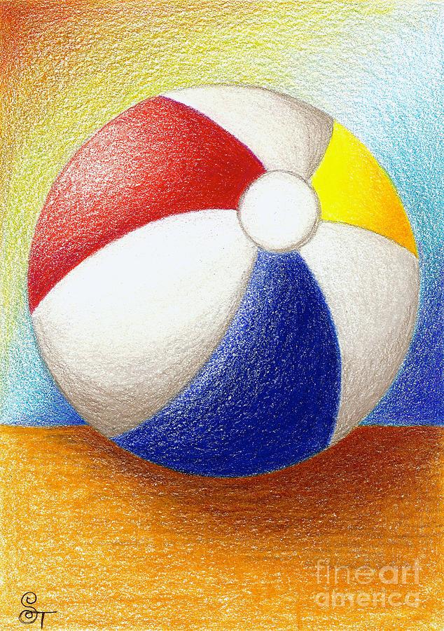 634x900 Beach Ball Drawing By Stephanie Troxell