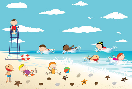 500x338 Children Drawing Beach Free Vector Download (90,939 Free Vector
