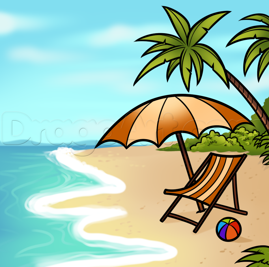 932x925 How To Draw A Beach Scene, Step By Step, Other, Landmarks Amp Places