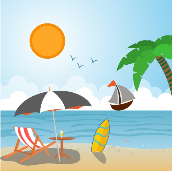 600x598 Summer Vacation Drawing Beach Scenery Sketch Colorful Design Free