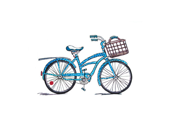 570x434 Beach Cruiser Bicycle Watercolor Jpeg Png Digital Stamp