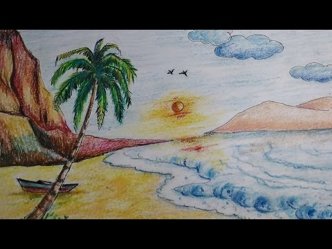 480x360 Beautiful Beach Scenery Drawing For Kidseasy Tutorial