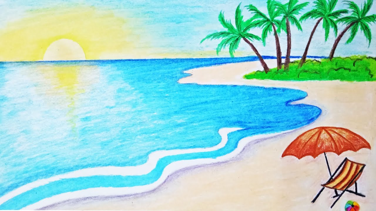 1280x720 How To Draw A Scenery Of Sea Beach Step By Step (Easy Draw)