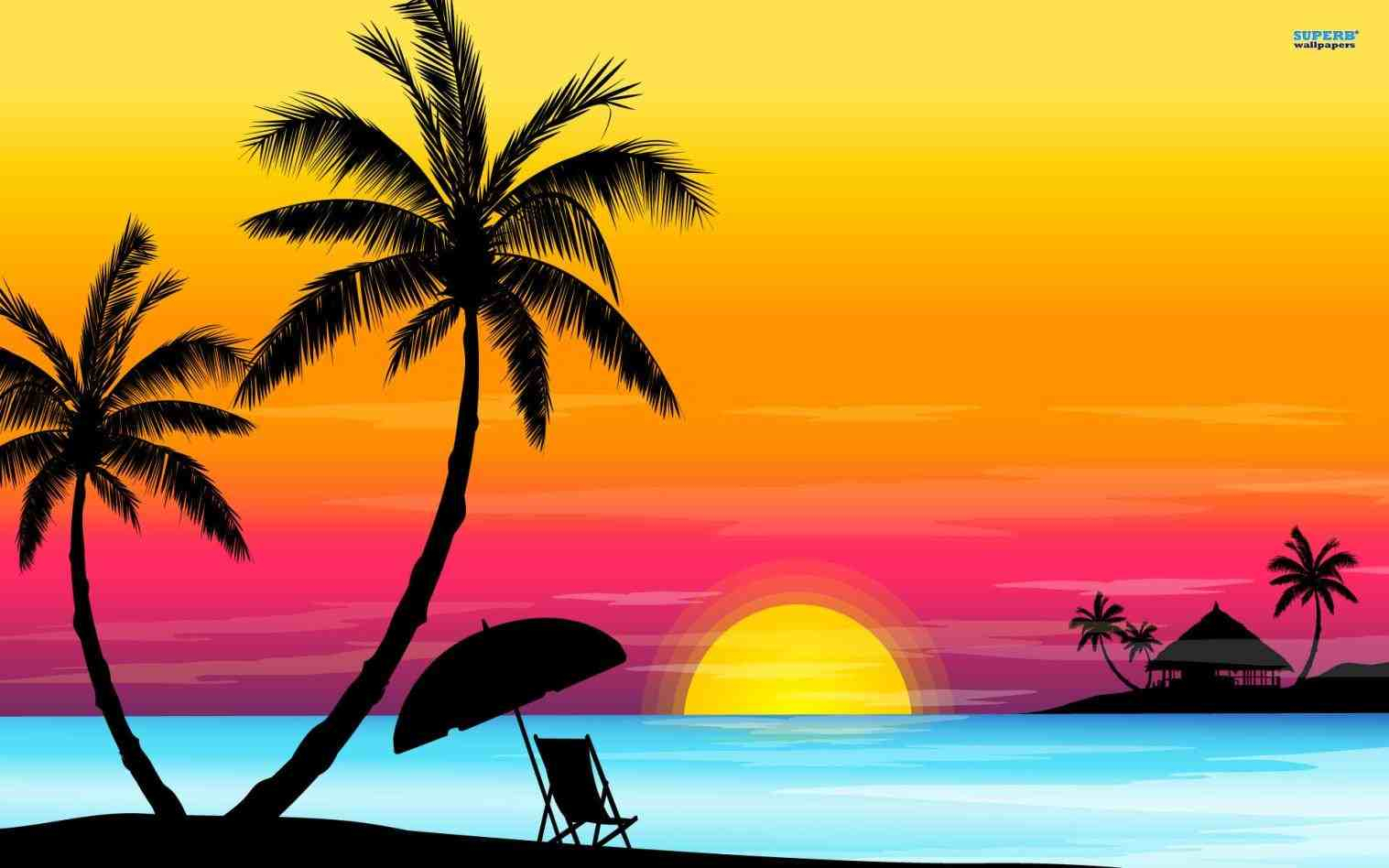 1517x948 Palm Tree Beach Drawing Palm Tree Sunset Drawings Paint, Drawing