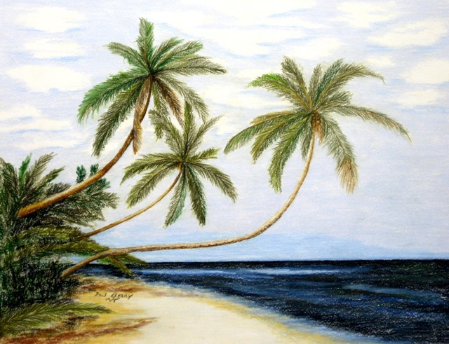 640x491 Ron Berry Artwork Palms Over White Beach Original Drawing