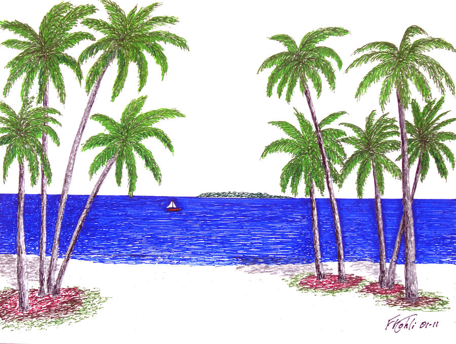 900x679 Tropical Beach Drawing By Frederic Kohli