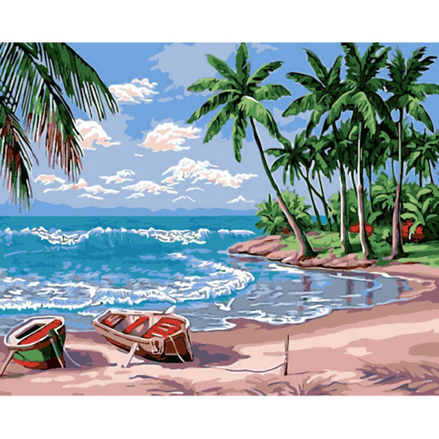 640x640 Oil Paint Painting By Numbers Diy Picture Beach Drawing On Canvas