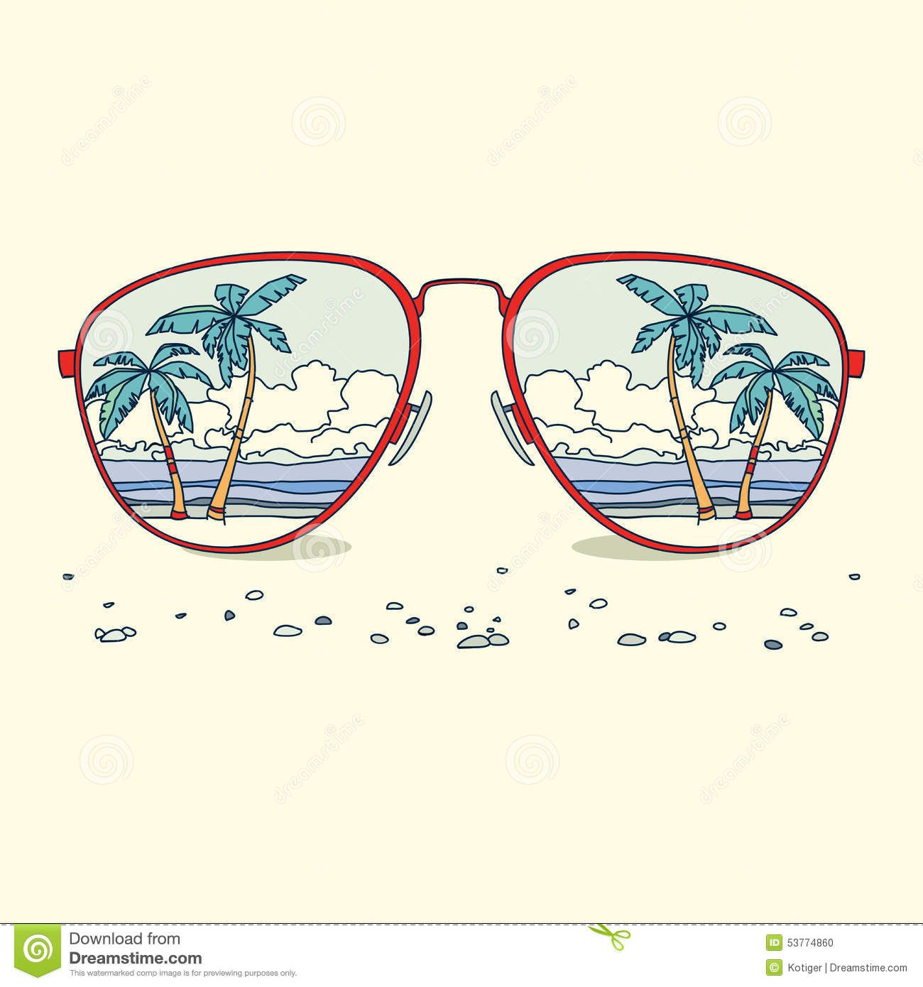 1300x1390 Reflection Of The Beach, Palm Trees, Beach In Sunglasses. Vector
