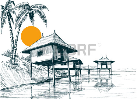 Line Drawing Of Your House : Beach house drawing at getdrawings free for personal use