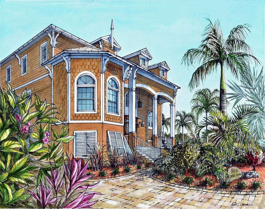 900x710 Magnolia Beach House Drawing By Joan Garcia