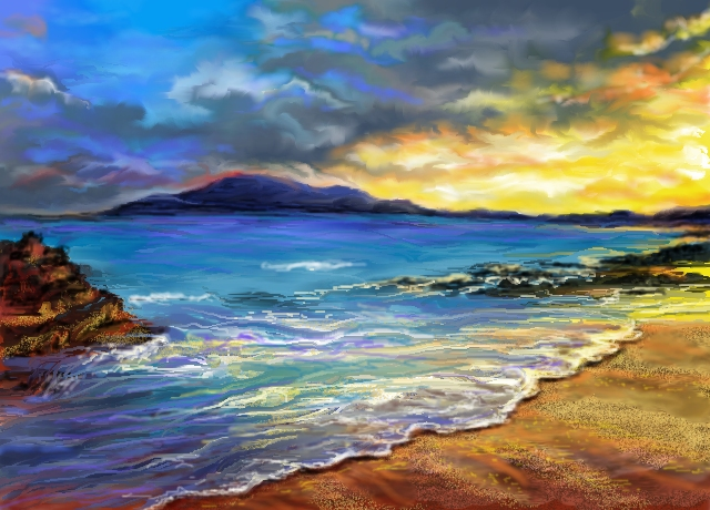 640x460 Beach Scene~ By Auroraskye (Landscapes Drawing)