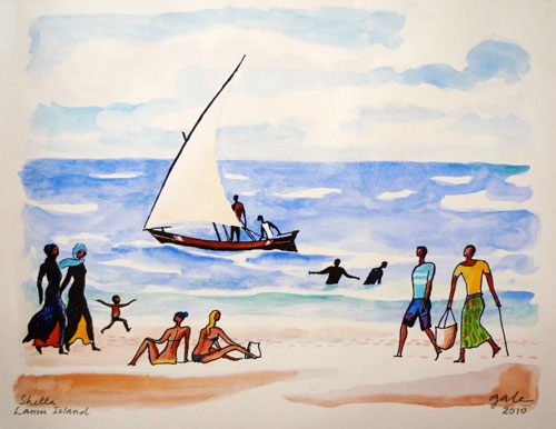 500x386 Shella Beach Scene With Dhow Ii