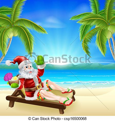 448x470 Summer Christmas Santa Beach Scene. Christmas Illustration Clip