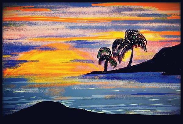 Beach Sunset Drawing At Getdrawings