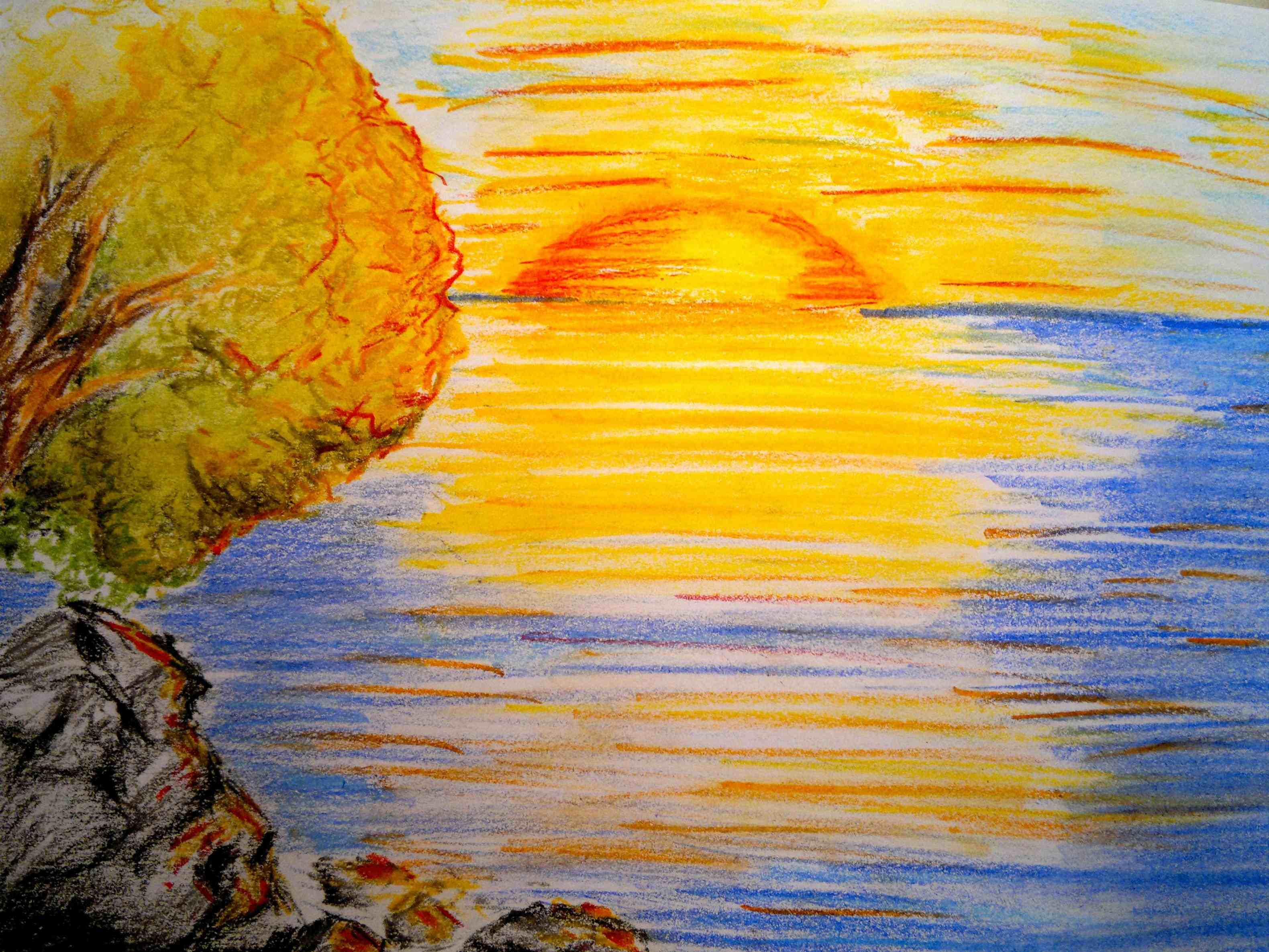 Beach Sunset Drawing at GetDrawings.com | Free for ...