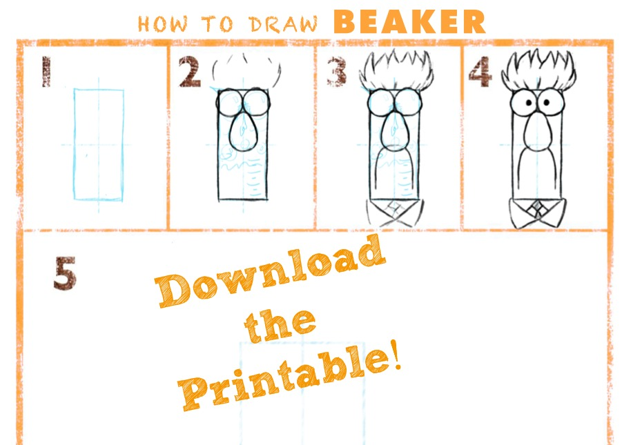 901x645 How To Draw Beaker From Muppet Labs {Printable}