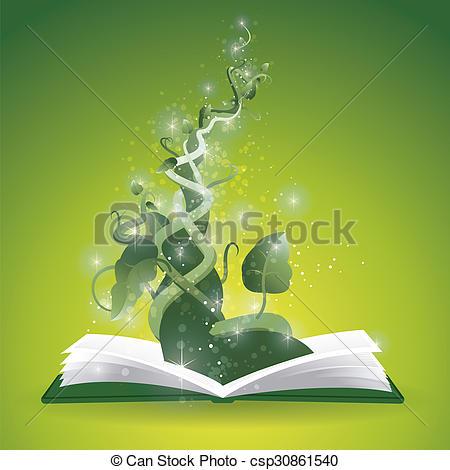 450x470 Beanstalk Book. Magic Beanstalk Rising Out Of Book Drawing