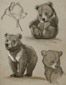 232x300 Aaron Blaise Bear Cub Character Sketches Drawing