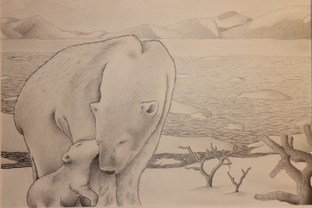 1095x730 Polar Bear And Cub By Nausicaakamiya