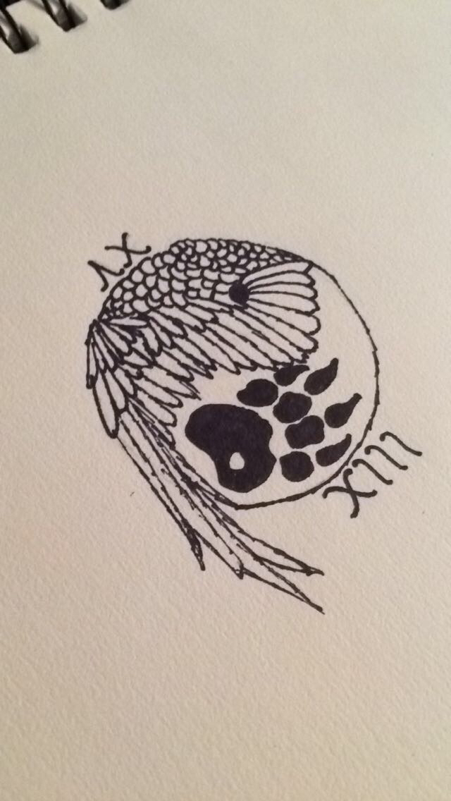 640x1136 My Drawing Yin Yang Bear Claw And Falcon Wing Graduation Tattoo