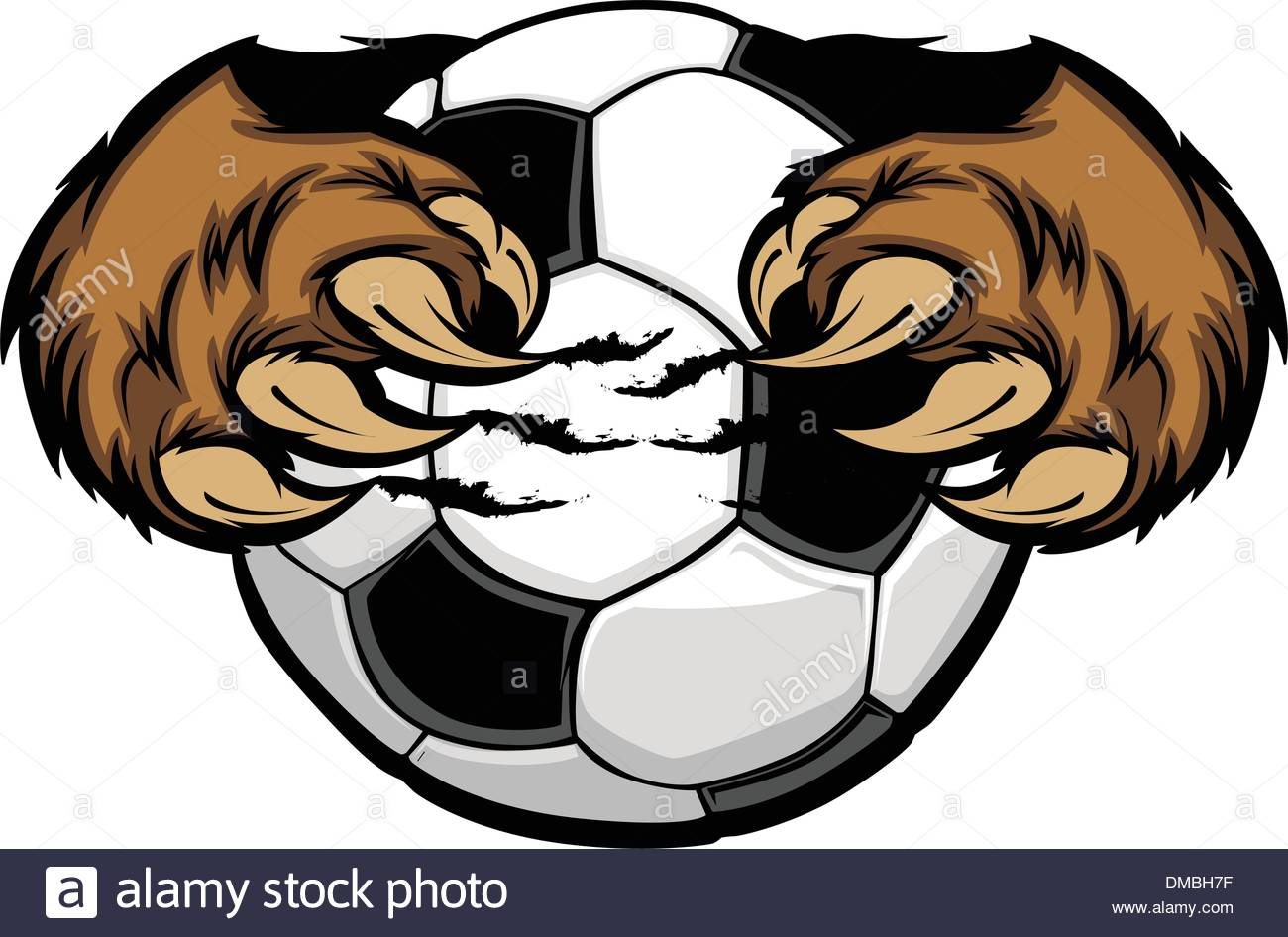 1300x946 Soccer Ball With Bear Claws Vector Image Stock Vector Art