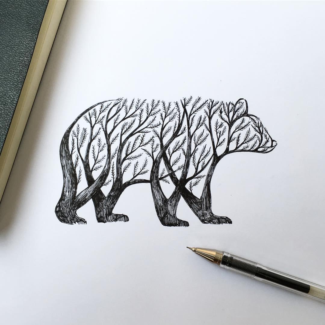 1080x1080 Alfred Basha Illustration Bear Drawing, Drawing Tattoos And Drawings