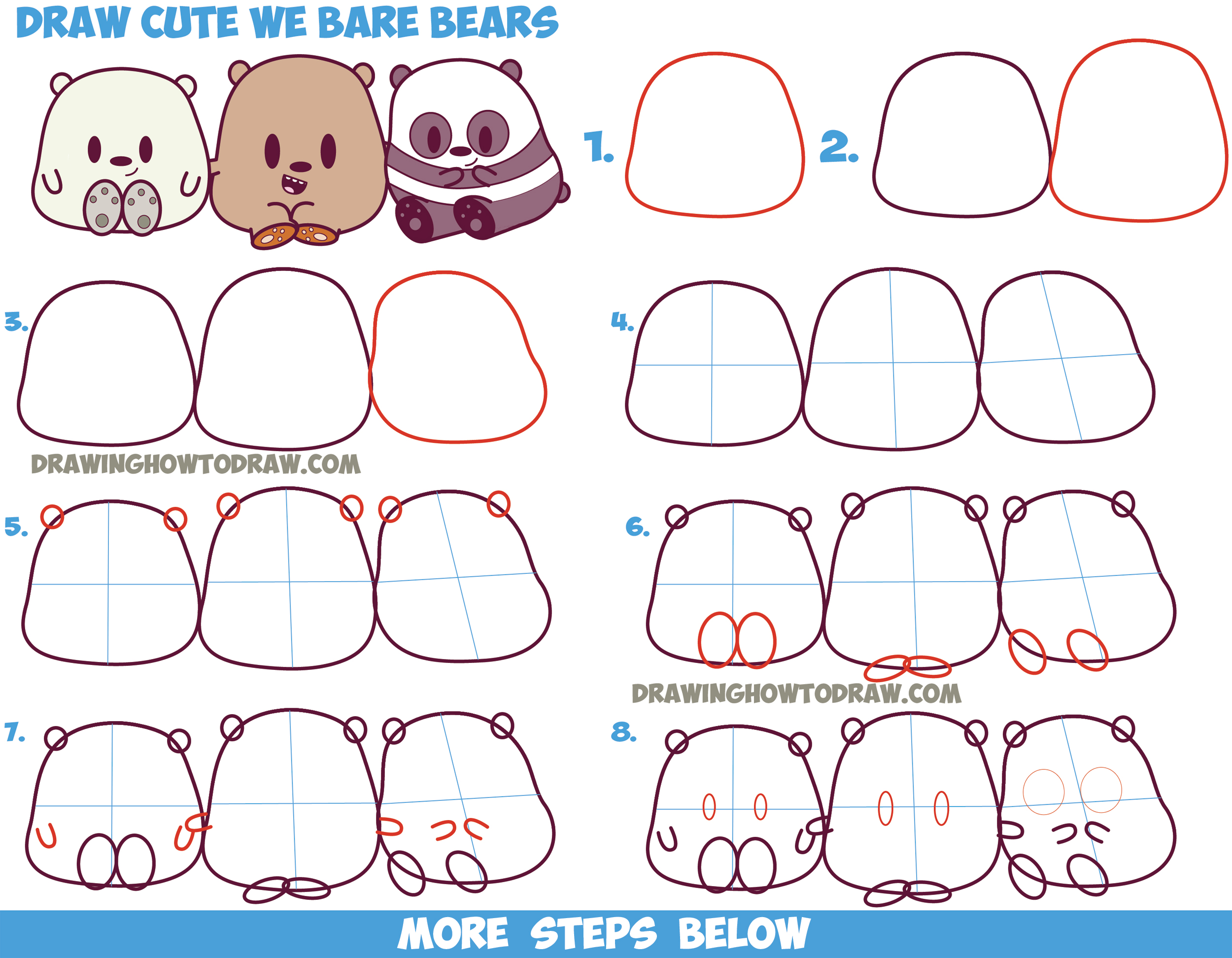 2500x1945 How To Draw We Bare Bears Cute Kawaii Chibi Baby Style