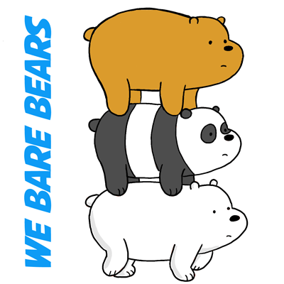 400x400 How To Draw Grizzly Panda And Ice Bear From We Bare Bears