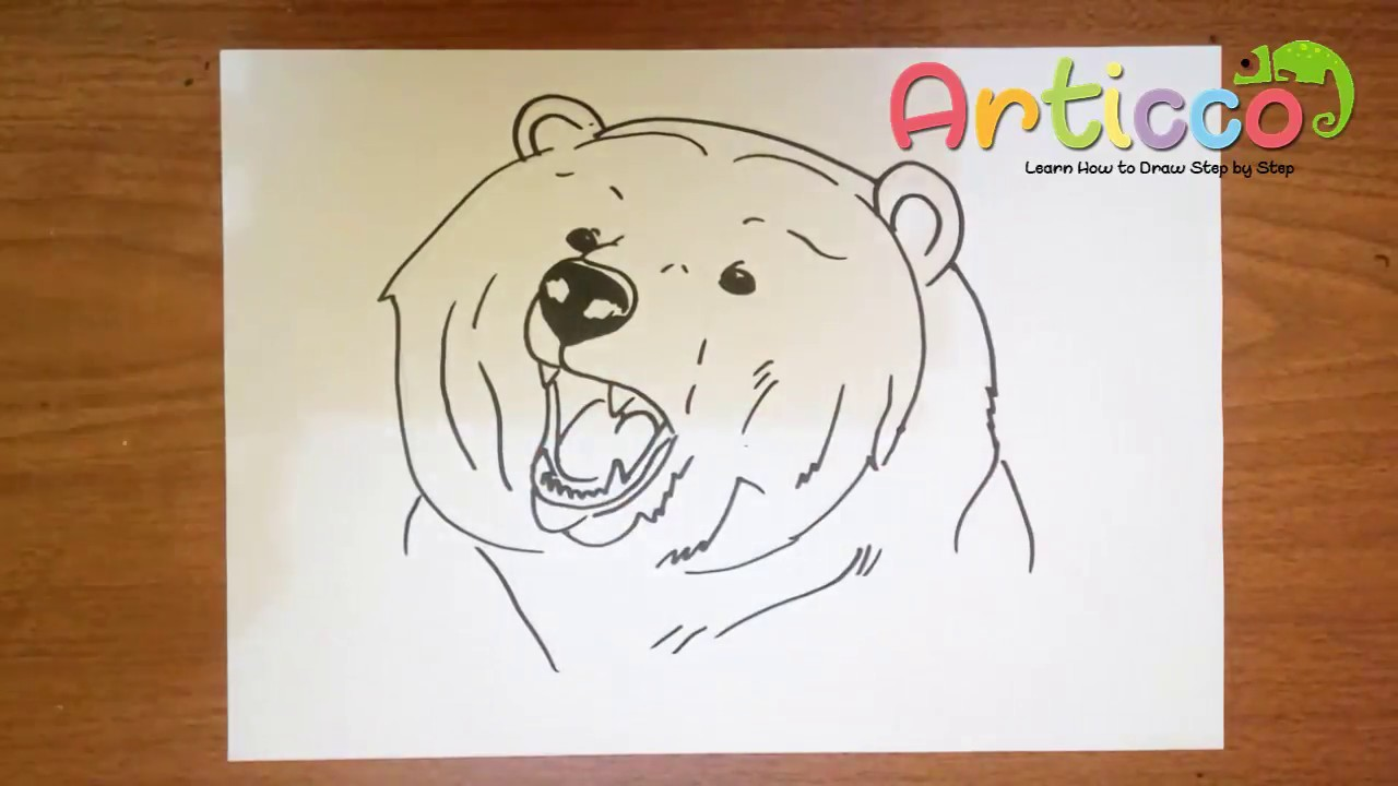 1280x720 How To Draw A Bear Face Step By Step For Kids