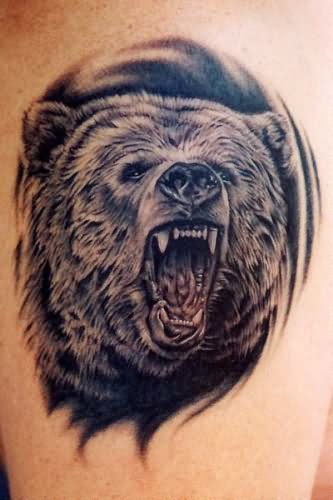333x500 Roaring Bear Face Tattoo
