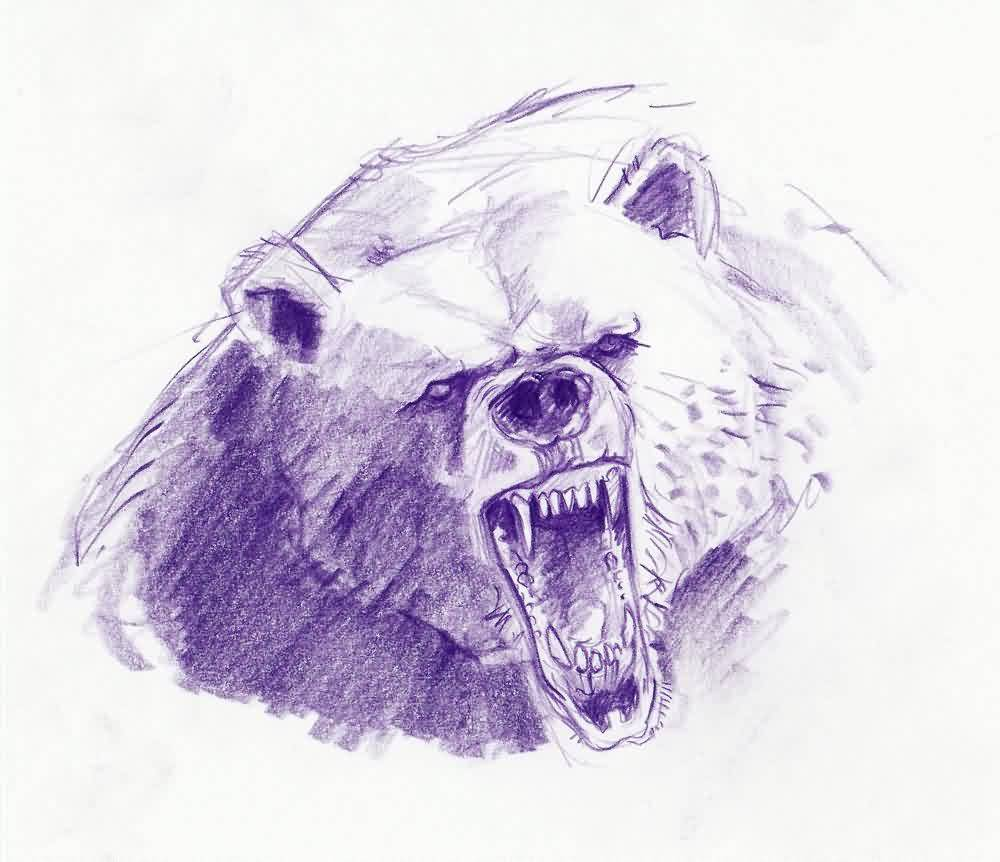 1000x862 Roaring Bear Tattoo Drawing