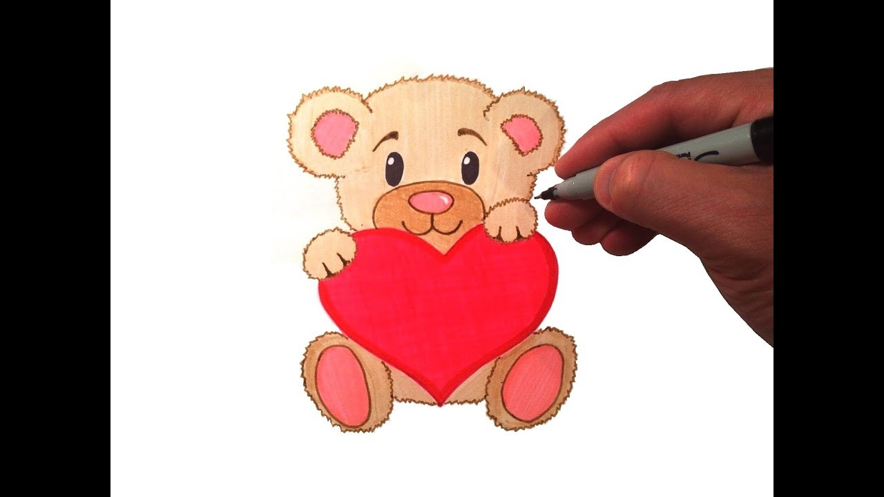 1280x720 How To Draw A Cute Teddy Bear With A Heart
