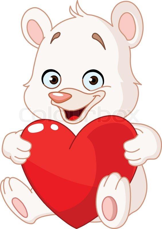 565x800 Teddy Bear Holding A Heart Stock Vector Colourbox