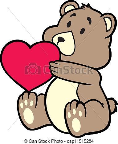 383x470 Teddy Bear Holding Heart Vector