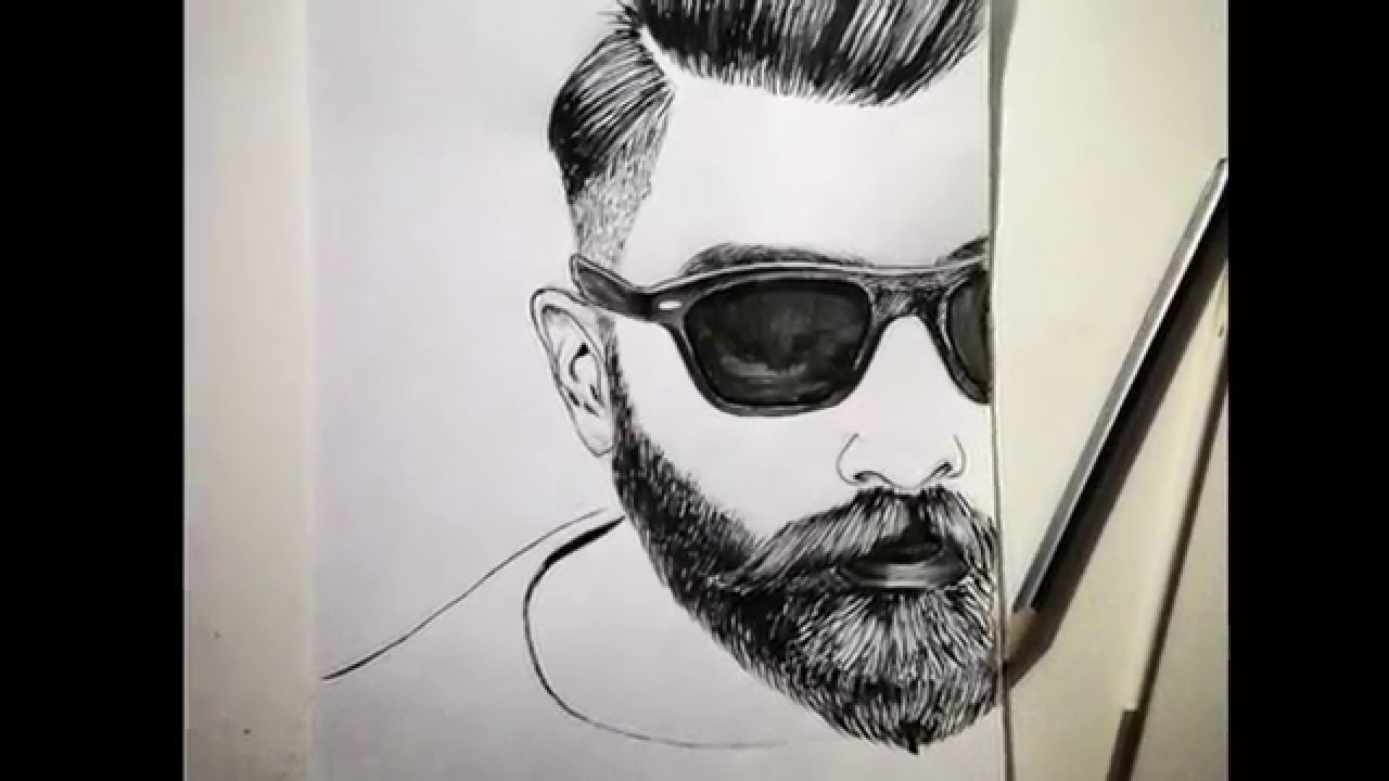 1280x720 Bearded Man Speed Drawing