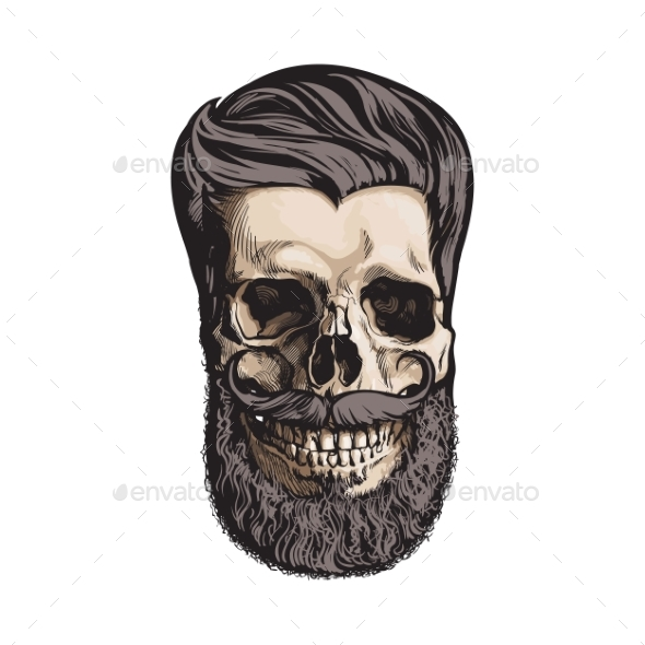 590x590 Human Skull With Hipster Hairdo And Beard By Sabelskaya Graphicriver