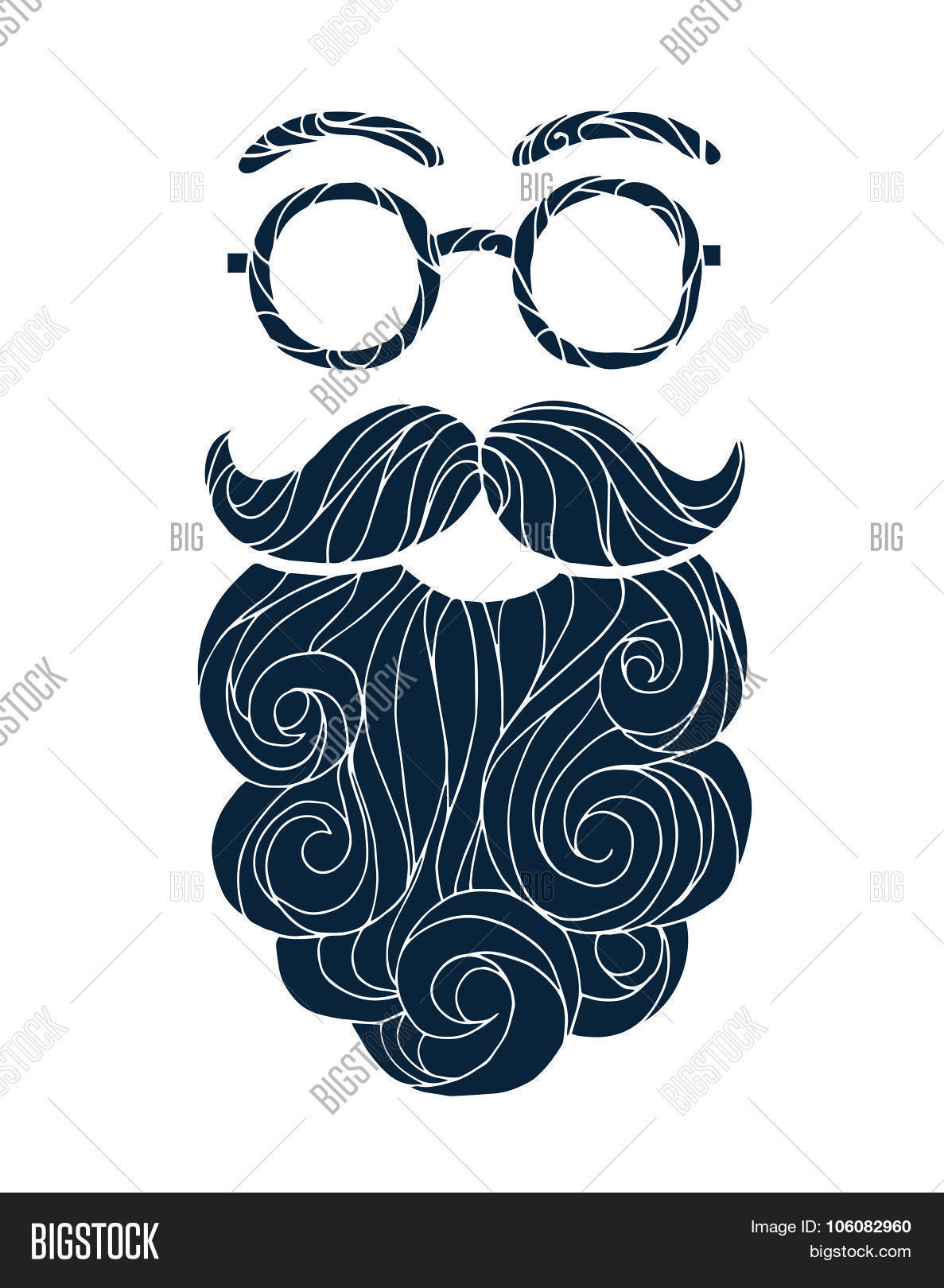 1187x1620 Vector Illustration Mustache Vector Amp Photo Bigstock
