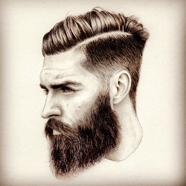 640x640 Bearded Man Sketch Art Artwork Drawing Arts Undercut Hair