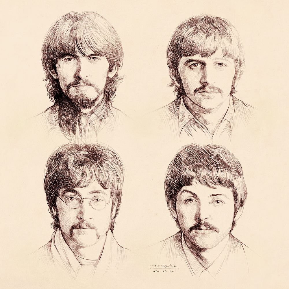 1000x1000 The Beatles (Drawing) Jay Mosquera