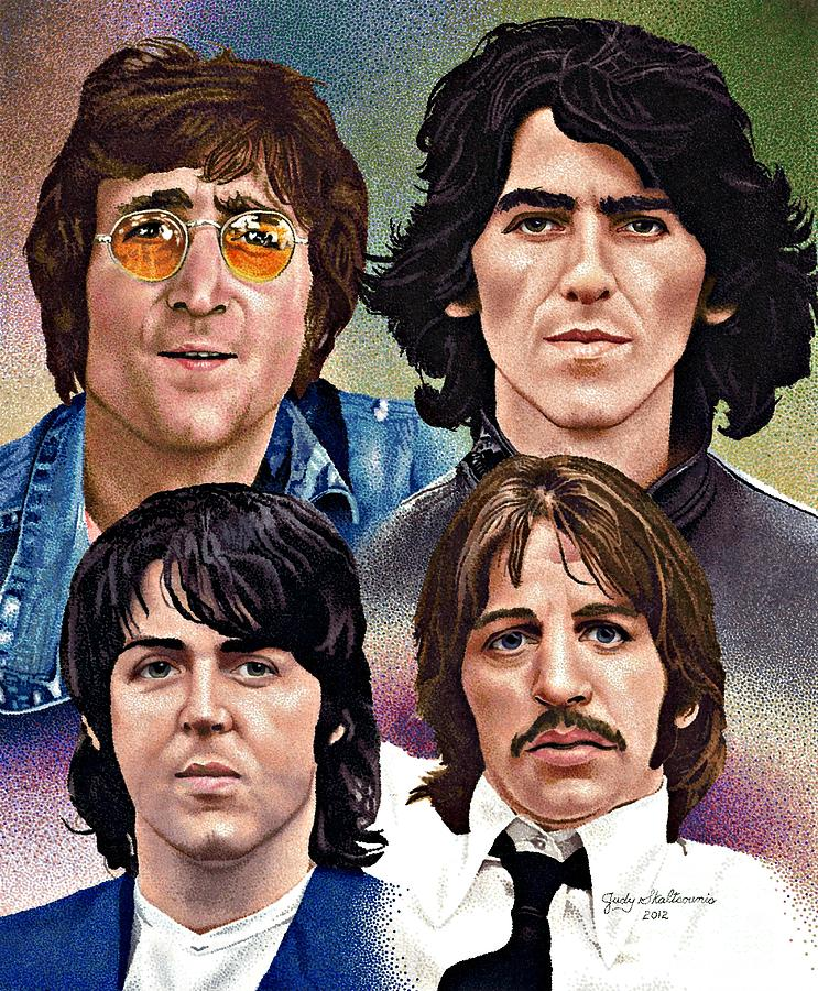 743x900 The Beatles Drawing By Judy Skaltsounis