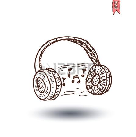 446x450 Headphone And Beats, Hand Drawn Illustration. Royalty Free