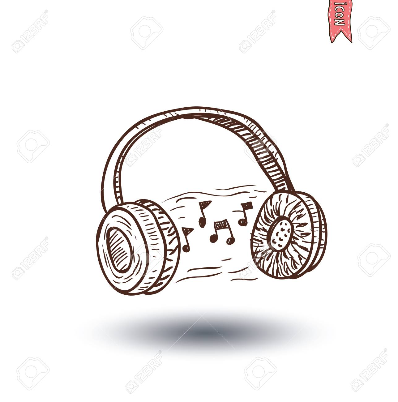 1287x1300 Headphone And Beats, Hand Drawn Illustration. Royalty Free