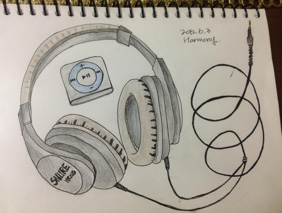 960x726 Headphone And Mp3 My Drawing Drawings