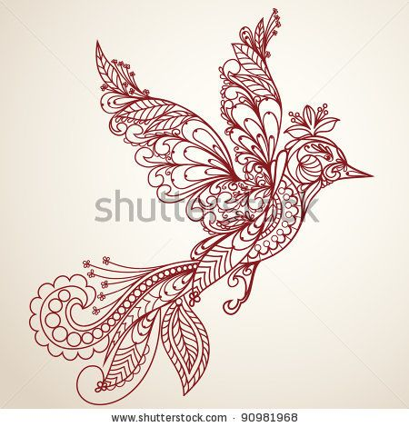 450x470 Stock Vector Beautiful Bird In A Vintage Style, Hand Drawn