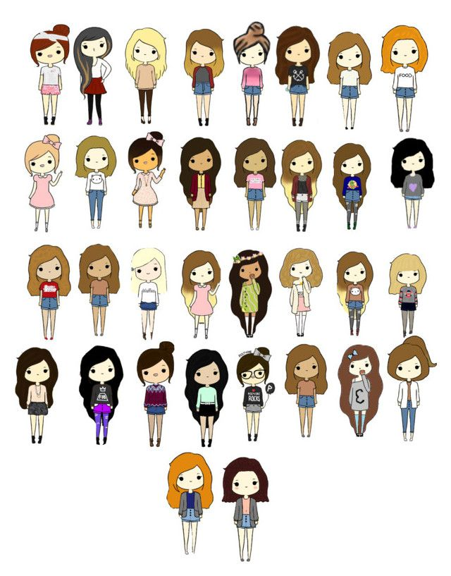 640x817 Cute Cartoon People! By Tumblinggirl Liked On Polyvore