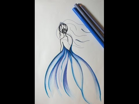 480x360 Diy Drawing A Girl With Blue Dress. Beautiful Drawings, Blue Dress