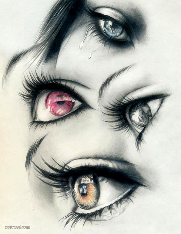 597x770 60 Beautiful And Realistic Pencil Drawings Of Eyes